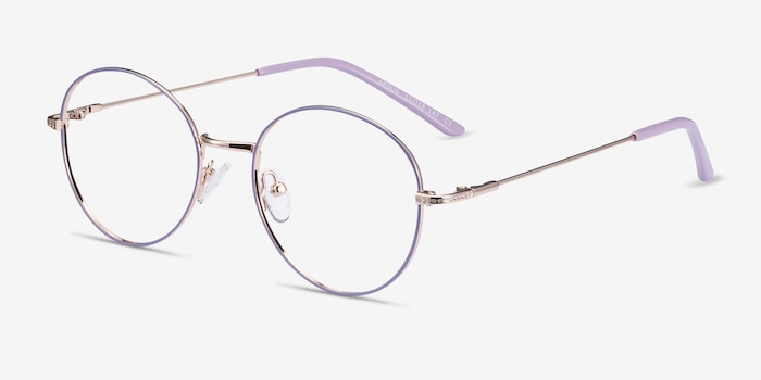 Arbus Purple & Gold Metal Eyeglass Frames from EyeBuyDirect, Angle View