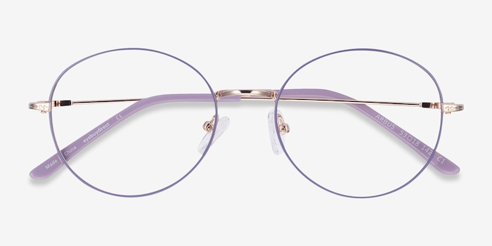 Arbus Purple & Gold Metal Eyeglass Frames from EyeBuyDirect, Closed View