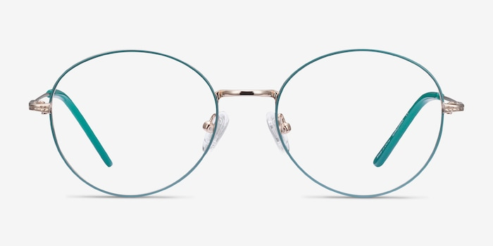 Arbus Green & Gold Metal Eyeglass Frames from EyeBuyDirect, Front View