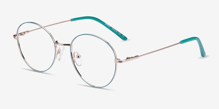 Arbus Green & Gold Metal Eyeglass Frames from EyeBuyDirect, Angle View