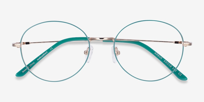 Arbus Green & Gold Metal Eyeglass Frames from EyeBuyDirect, Closed View