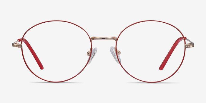Arbus Red/Gold Metal Eyeglass Frames from EyeBuyDirect, Front View