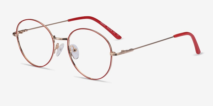 Arbus Red/Gold Metal Eyeglass Frames from EyeBuyDirect, Angle View