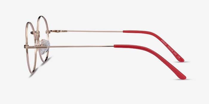 Arbus Red/Gold Metal Eyeglass Frames from EyeBuyDirect, Side View