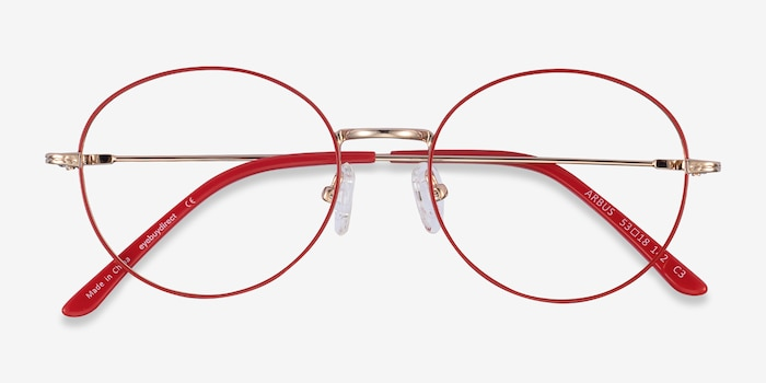 Arbus Red/Gold Metal Eyeglass Frames from EyeBuyDirect, Closed View