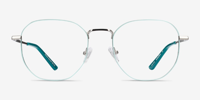 Ethan Mint & Silver Metal Eyeglass Frames from EyeBuyDirect, Front View