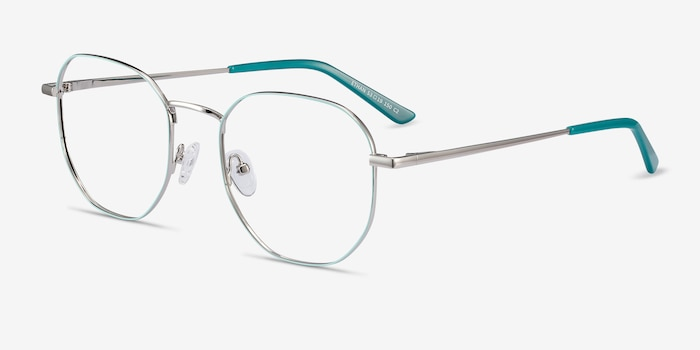 Ethan Mint & Silver Metal Eyeglass Frames from EyeBuyDirect, Angle View