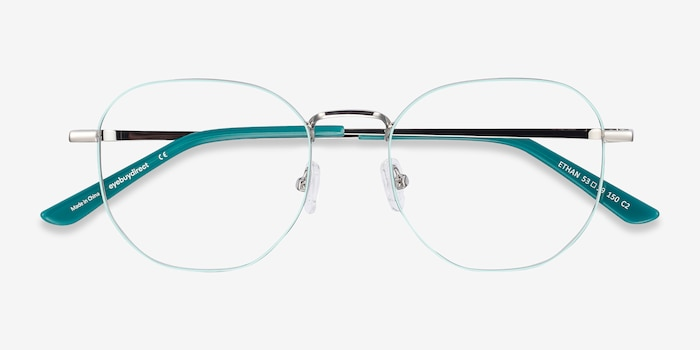 Ethan Mint & Silver Metal Eyeglass Frames from EyeBuyDirect, Closed View