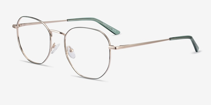Ethan Avocado & Gold Metal Eyeglass Frames from EyeBuyDirect, Angle View