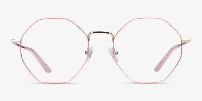 Altar Pink & Gold Metal Eyeglass Frames from EyeBuyDirect, Front View