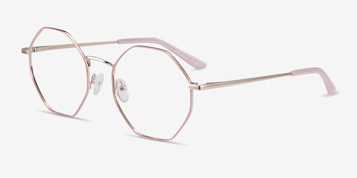 Altar Pink & Gold Metal Eyeglass Frames from EyeBuyDirect, Angle View