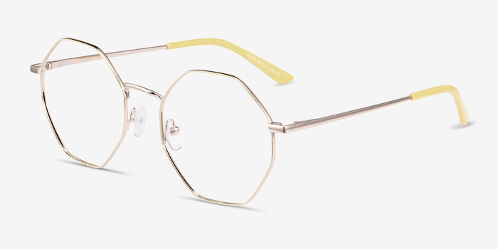 Altar Yellow & Gold Metal Eyeglass Frames from EyeBuyDirect, Angle View