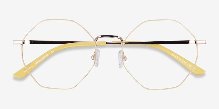 Altar Yellow & Gold Metal Eyeglass Frames from EyeBuyDirect, Closed View