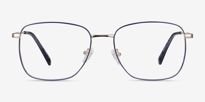 Kusama Navy & Gold Metal Eyeglass Frames from EyeBuyDirect, Front View