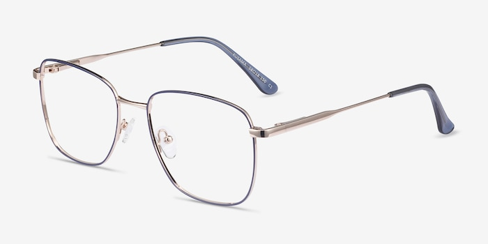 Kusama Navy & Gold Metal Eyeglass Frames from EyeBuyDirect, Angle View