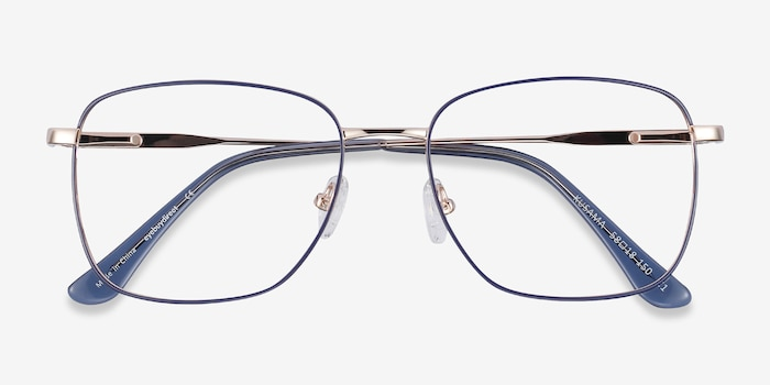 Kusama Navy & Gold Metal Eyeglass Frames from EyeBuyDirect, Closed View