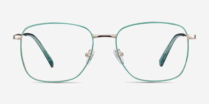 Kusama Green & Gold Metal Eyeglass Frames from EyeBuyDirect, Front View