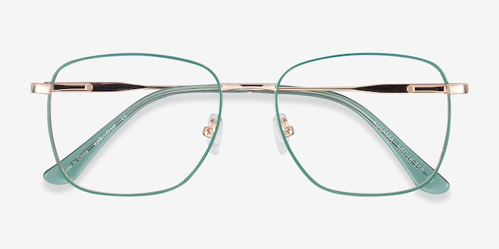 Kusama Green & Gold Metal Eyeglass Frames from EyeBuyDirect, Closed View