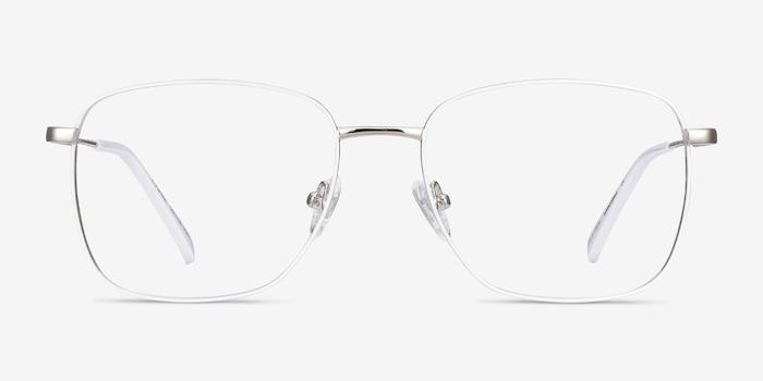 Kusama White & Silver Metal Eyeglass Frames from EyeBuyDirect, Front View