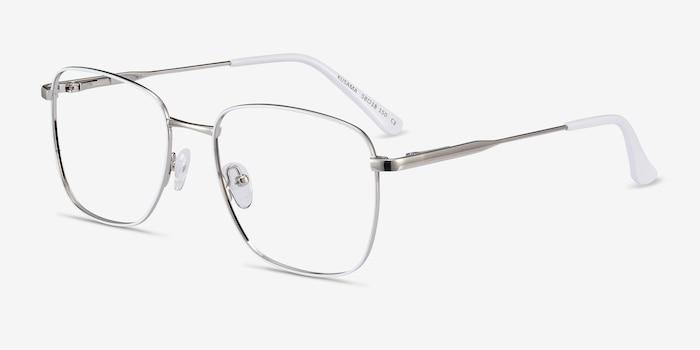 Kusama White & Silver Metal Eyeglass Frames from EyeBuyDirect, Angle View