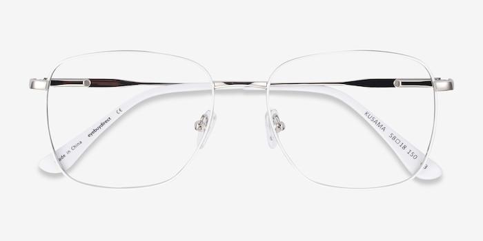 Kusama White & Silver Metal Eyeglass Frames from EyeBuyDirect, Closed View
