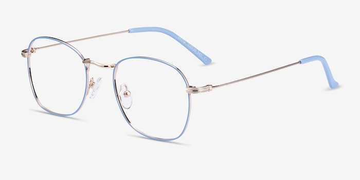 Keith Blue & Gold Metal Eyeglass Frames from EyeBuyDirect, Angle View
