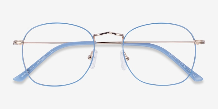 Keith Blue & Gold Metal Eyeglass Frames from EyeBuyDirect, Closed View