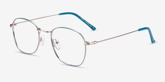 Keith Green & Gold Metal Eyeglass Frames from EyeBuyDirect, Angle View