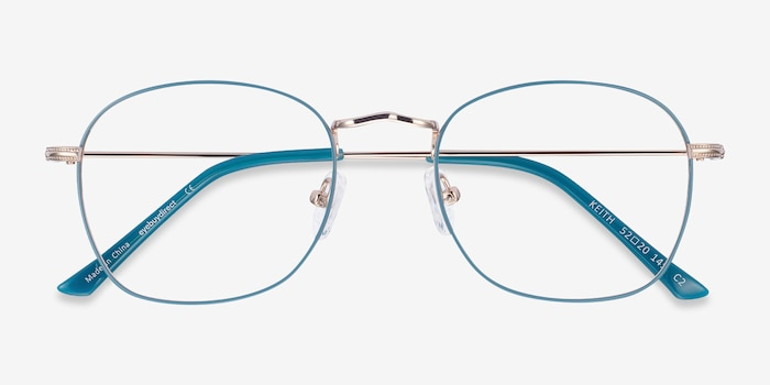 Keith Green & Gold Metal Eyeglass Frames from EyeBuyDirect, Closed View