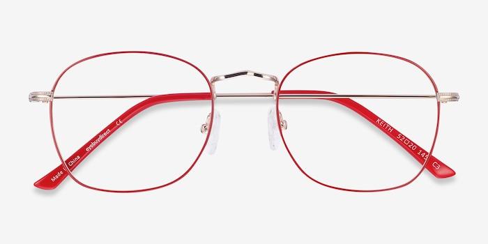 Keith Red & Gold Métal Montures de Lunette de vue d'EyeBuyDirect, Vue Rapprochée