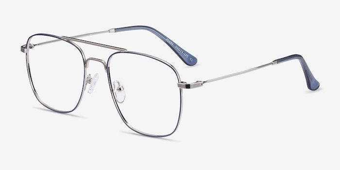 Perry Blue & Silver Metal Eyeglass Frames from EyeBuyDirect, Angle View