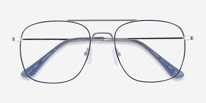 Perry Blue & Silver Metal Eyeglass Frames from EyeBuyDirect, Closed View