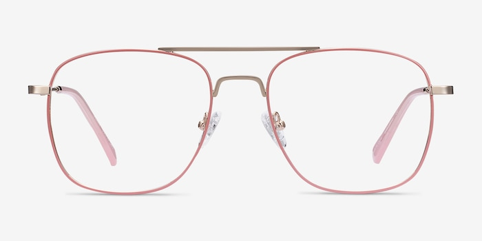 Perry Pink & Rose Gold Metal Eyeglass Frames from EyeBuyDirect, Front View