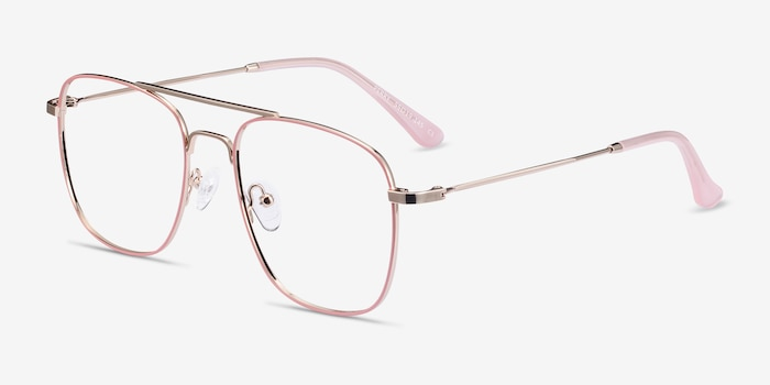 Perry Pink & Rose Gold Metal Eyeglass Frames from EyeBuyDirect, Angle View