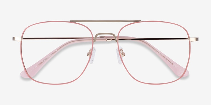 Perry Pink & Rose Gold Metal Eyeglass Frames from EyeBuyDirect, Closed View