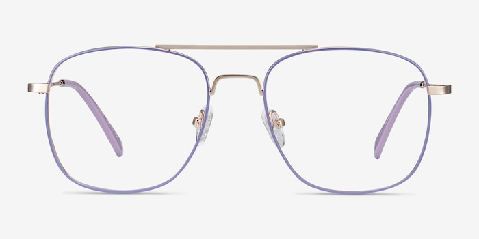 Perry Purple & Gold Metal Eyeglass Frames from EyeBuyDirect, Front View