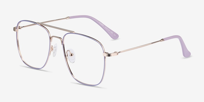 Perry Purple & Gold Metal Eyeglass Frames from EyeBuyDirect, Angle View