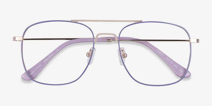 Perry Purple & Gold Metal Eyeglass Frames from EyeBuyDirect, Closed View
