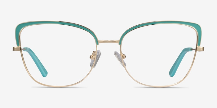 Marina Aqua Gold Metal Eyeglass Frames from EyeBuyDirect, Front View