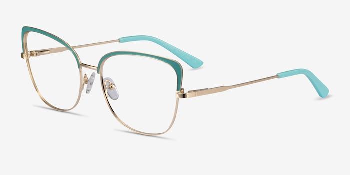 Marina Aqua Gold Metal Eyeglass Frames from EyeBuyDirect, Angle View