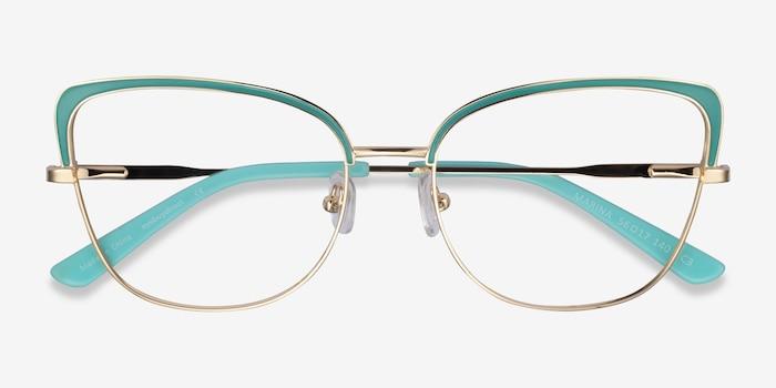Marina Aqua Gold Metal Eyeglass Frames from EyeBuyDirect, Closed View