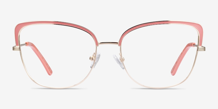 Marina Coral & Gold Metal Eyeglass Frames from EyeBuyDirect, Front View