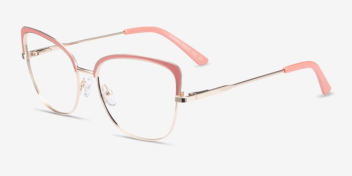 Marina Coral & Gold Metal Eyeglass Frames from EyeBuyDirect, Angle View