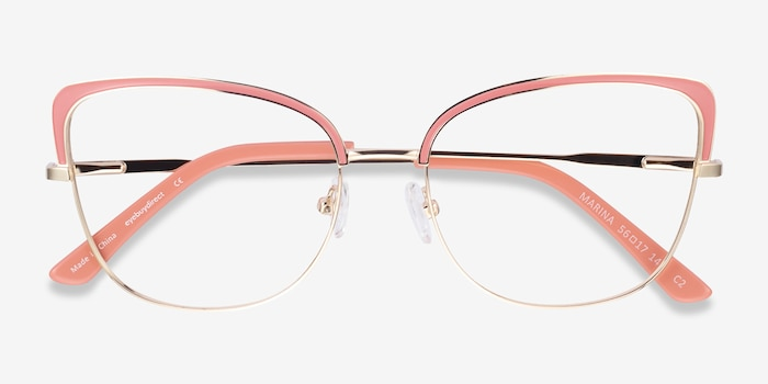 Marina Coral & Gold Metal Eyeglass Frames from EyeBuyDirect, Closed View