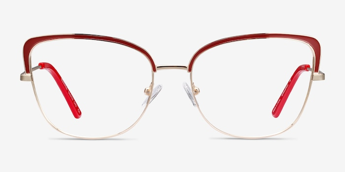 Marina Red & Gold Metal Eyeglass Frames from EyeBuyDirect, Front View