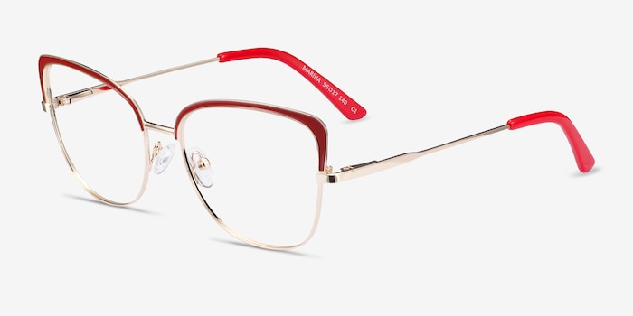 Marina Red & Gold Metal Eyeglass Frames from EyeBuyDirect, Angle View