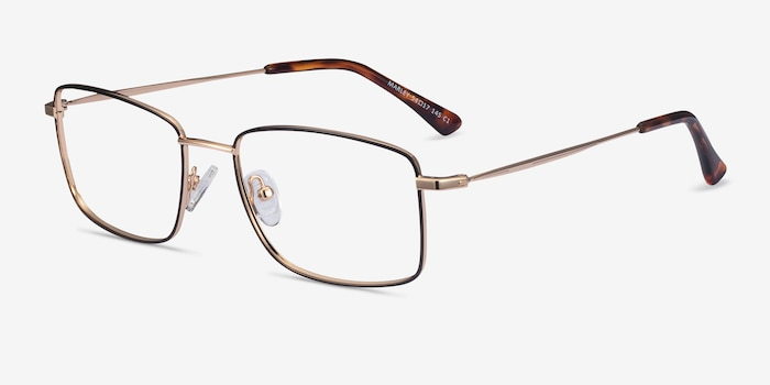 Marley Black Gold Metal Eyeglass Frames from EyeBuyDirect, Angle View