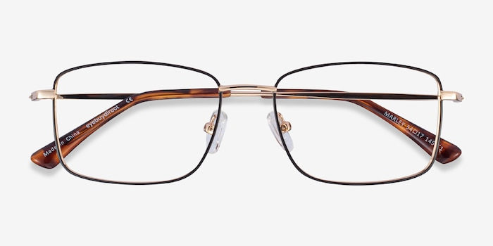 Marley Black Gold Metal Eyeglass Frames from EyeBuyDirect, Closed View