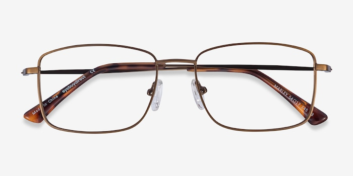 Marley Bronze Metal Eyeglass Frames from EyeBuyDirect, Closed View
