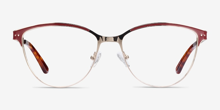 Rosa Red & Gold Metal Eyeglass Frames from EyeBuyDirect, Front View